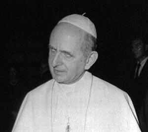 una fotografía en blanco y negro del Papa Pablo VI