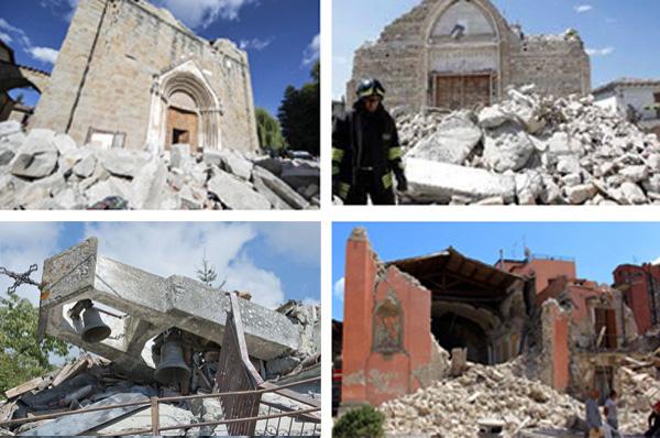 Churches destroyed by earthquake in Italy