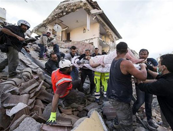 Victims of earthquake in Italy