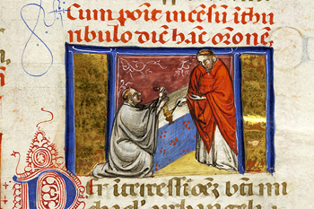 Medieval manuscript depicting the blessing of incense