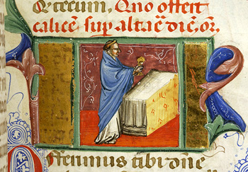 Medieval manuscript depicting the offertory