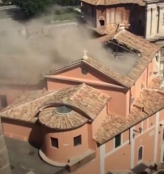 church roof collapses in rome