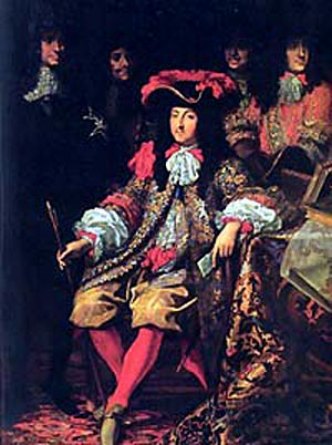 Louis XIV seated amidst his nobles