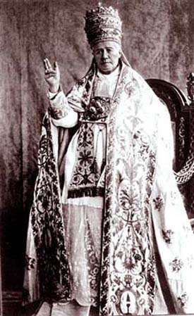 St. Pius X in full papal regalia